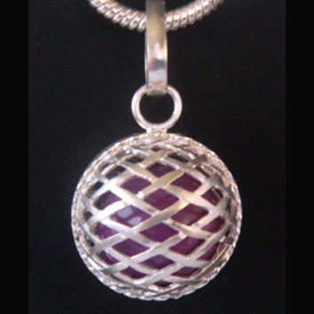 Harmony Ball with Purple Chime Ball in a Stylish 925 Sterling Silver Cage | Bola Necklace, Pregnancy Gift, Angel Caller 342 + Bonus Chain