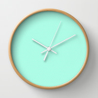 Chevron Mint Green Print Wall Clock by productoslocos
