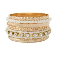 Rhinestone, Bead & Pearl Bangles - 7 Pack by Charlotte Russe - White