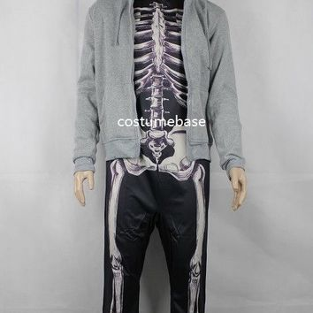 Donnie Darko Skeleton SET (Suit + Hoodie) Coat Adult Costume Halloween Jumpsuit