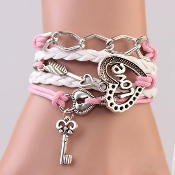 Handmade Bracelet Lock key Cupid's Arrow Charms Infinity Bracelet White Pink Leather Bracelet Women Best Couple Gift