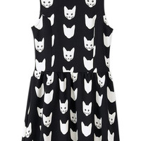 ROMWE Cat Print Sleeveless Black Tank Dress