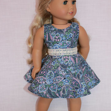 18 inch doll clothes, paisley floral print dress with skater/circle style skirt and belt, upbeat petites
