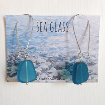 Sea Glass Nugget Earrings in Teal Blue Nautical Dangle Sea Inspired Lightweight Bohemian Jewelry Gifts for Her