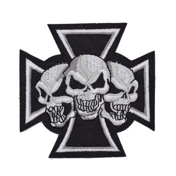 Three Ghost Skeleton Skull Bone patch Symbol Jacket T-shirt Patch Iron on Embroidered Punk Rock Lady Raider Biker Patches