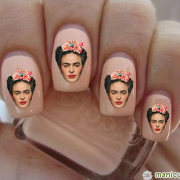 Frida Kahlo Head Nail Decals-24 ct.