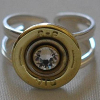 Remington Peters  410 Gauge  Shotgun Shell Sterling Silver Bullet  Ring  Adjustable Swarovski Crystal