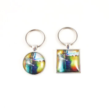 Rainbow Key Chain, Colorful Art Print Key Ring, Car Keys, Teen Gift, Sister Birthday Gift, Coworker Gift, Bridesmaids Gifts, Groomsman