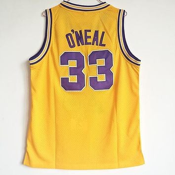 Online NCAA University Basketball Jersey Louisiana State University LSU Tigers # 33 Shaquille O'Neal Gold Yellow