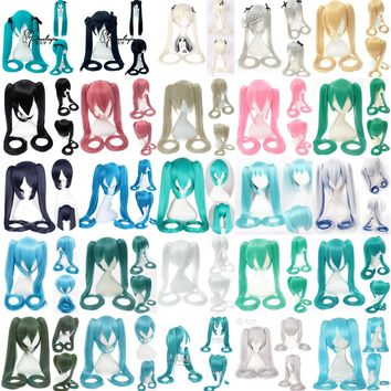 Vocaloid Hatsune Miku Wig Ponytails Black Rock Shooter Senbon Zakura Cosplay Wig Long Hair Blue Green Black Pink Silver Wigs