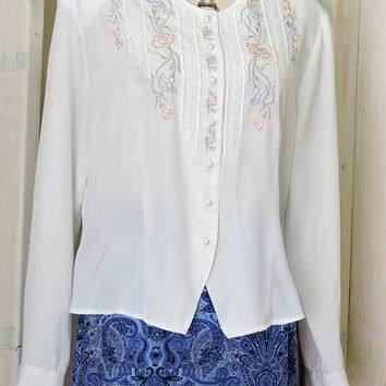 Vintage 80s White Blouse / Plus size 2X / 18 / white dress blouse / embroidered / feminine  / delicate  /  Laura Scott