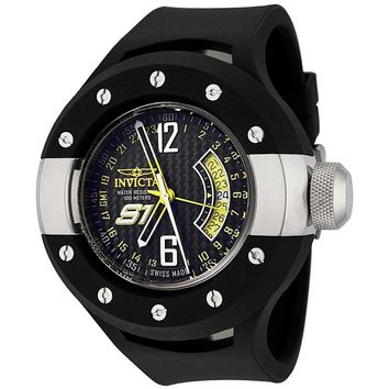 Invicta 6840 Men's S1 Rally Carbon Fiber Black Dial Black Rubber Strap GMT Watch