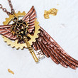 Steampunk Necklace Jewelry - STARTLING Copper Wing Gear & Victorian Key Men Steampunk Necklace - The Latest Steampunk Fashion - Gift