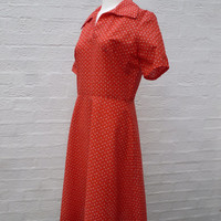 Dress red vintage size 16 summer dress red clothing womens picnic dress 1970s vtg clothes 70s vintage dress short sleeved dress gift red uk.