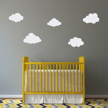 Cloud Decals Set - (Set of 5) - Puffy Cloud Wall Decal - Kids Wall Decal - Nursery Decor