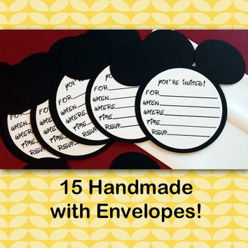 Mickey Mouse Birthday Invitations With Envelopes, Mickey Mouse Die Cut, Mickey Mouse Party