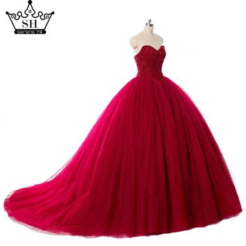 Real Picture Luxury Burgundy Crystals Ball Gown Wedding Dress Bridal Dress Robe Wedding Gown