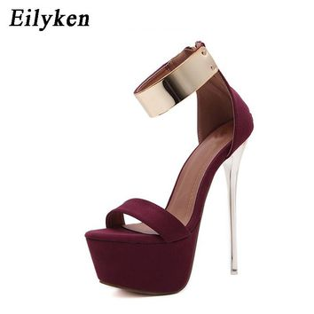 Eilyken 2018 Women Sandals 16cm Ultra high heels Summer Platform Pumps Party Club shoes Woman Sequined Gladiator Sandals