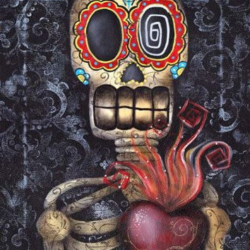Sacred Heart by Abril Andrade Sugar Skull Tattoo Day of the Dead Fine Art Print
