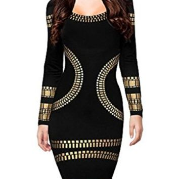 Women's Cut out Long Sleeves Kim Egypt Gold Foil Print Cocktail Dress