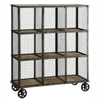 Industrial Metal and Wood Bookcase