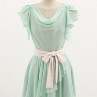Sweet Butterfly Sleeves Cowl Neck Mint Green Chiffon Dress. Bridesmaid