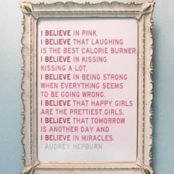 I Believe in Pink Audrey Hepburn Quote by 3LambsGraphics on Etsy