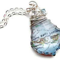 Custom Map Necklace You Pick the Place Great for by PaperAndPlace