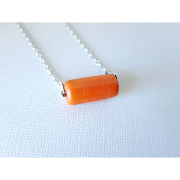 Carrot - Vegetable Pickers Collection - Rhodium Chain Necklace - Garden Jewelry - Summer - Orange Glass