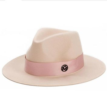 oZyc Ladies pink wool feodra hat winter womens M letter wool Jazz fedoras pink hat for women large brim cowboy panama fedoras