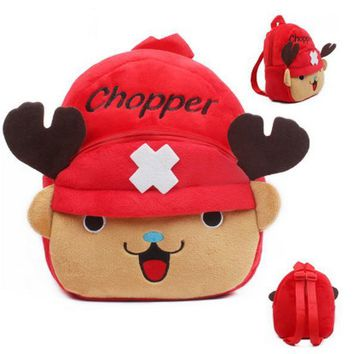 23CM One Piece Chopper Plush Cartoon Kid Backpack For Child School Bag For Kindergarten Girl Baby Boy Backpack Mochila