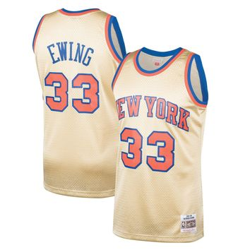 Men's New York Knicks Patrick Ewing Mitchell & Ness Gold 1991-92 Hardwood Classics Gold Series Swingman Jersey