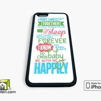 One Direction 1D Happily Lyrics iPhone Case 4, 4s, 5, 5s, 5c, 6 and 6 plus by Avallen