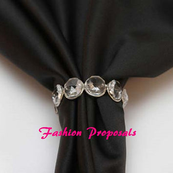 25 Crystal gem silver napkin ring, bling crystal napkin ring, holder, Wedding Crystal Gem napkin ring  25 49.00