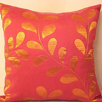 Orange leaves pillow – Fuchsia seasonal nature 20x20 cover