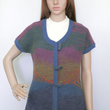 Hand knitted sleeveless sweater vest with big buttons
