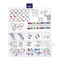 BodyJ4You Body Piercing Kit Mix Lot in Case Jewelry Belly Ring Labret Tongue Eyebrow Tragus 120 Pieces