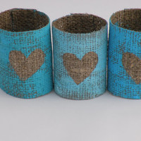 #Blue #Napkin #rings #burlap -#rustic napkin rings #wedding napkin rings #hessian napkin rings #heart love. Chabby chic white