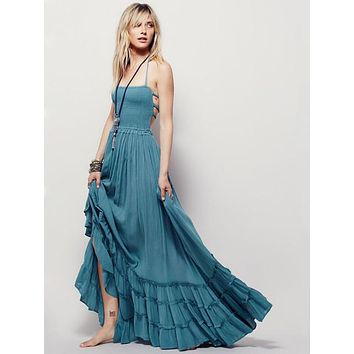 Elegant Maxi Dress Vintage Long Beach Dress