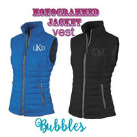Monogrammed Charles River Quilted Vest womens ladies lightweight packable personalized