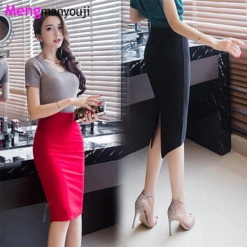 Women Pencil Skirts Back Slit Swallow Forked Tail S-2XL Slim Sexy Elegant Midi Skirt Black Red Y5320 Plus Size