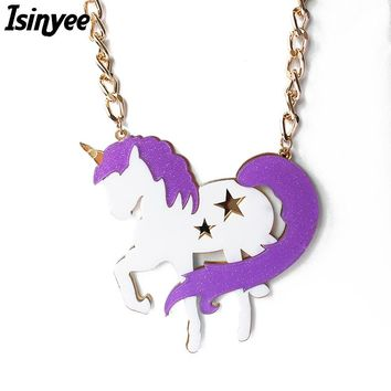 ISINYEE Fashion Big Acrylic Unicorn Pendant Gold Chain Purple Horse Star Necklace For Women Statement Jewelry Collier Femme