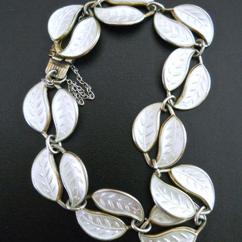 White Sterling Silver Bracelet by DAVID ANDERSEN, Enamel Guilloche, Norway, Vintage