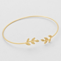 Delicate Olive Leaf Wire Gold Cuff Bangle Bracelet