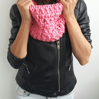 PINK SCARF CROCHET Hand Crochet Scarf Soft Infinity Mens Braided Cable Boho Cowl Loop Crochet Slouchy Mens Scarf Slouch Beanie Hand Winter