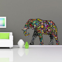 Elephant - Colorful Floral Sticker - Home Design Wall Sticker