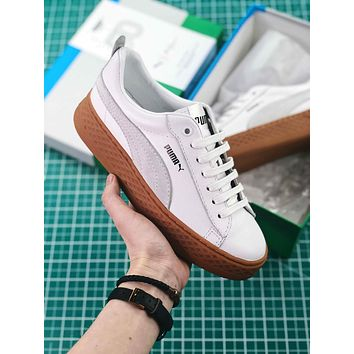 Puma Suede Classic Basket White Brown Sneakers