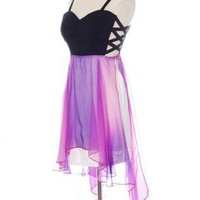 Chiffon Purple&Black High Low Dress with Criss Cross Sides