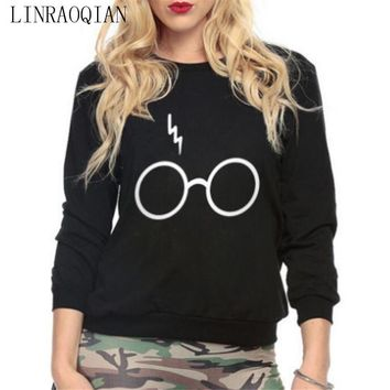 Flash Printed Casual Women Sweatshirts Hoody O-neck Autumn Warm Long Sleeve Hoodies Female Harry Potter 's Glasses Pullover