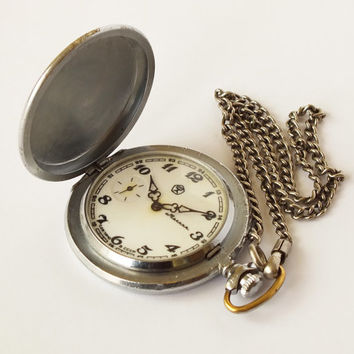 Pocket Watch MOLNIJA With Original Chain, Vintage Mens Pocket Watch From Hunting Collection